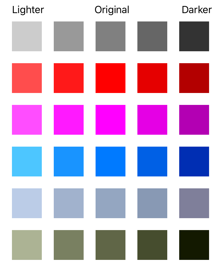 Example of lighter and darker UIColors generated using the UIColor extension