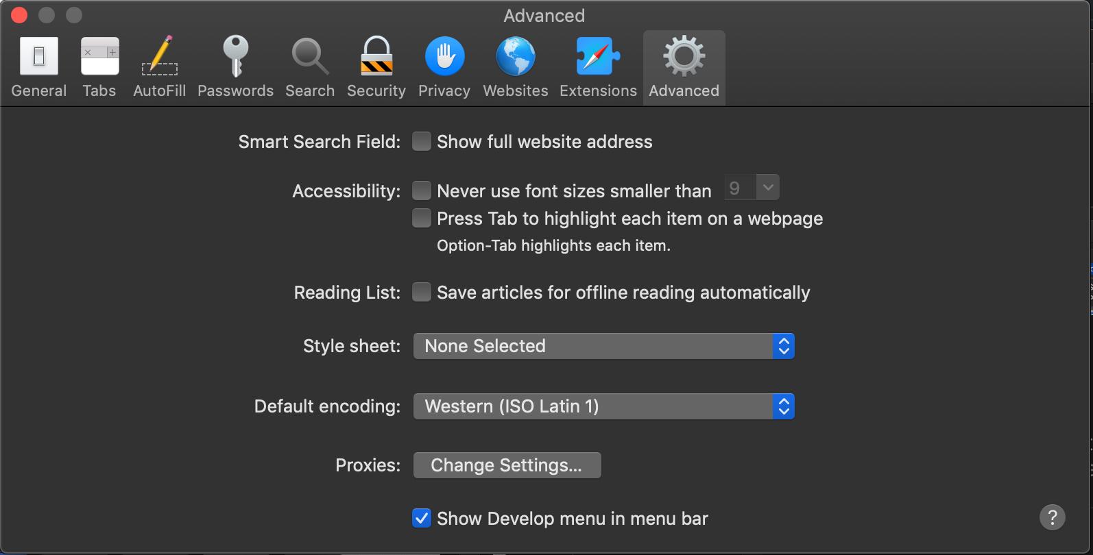 "Safari Preferences, Advanced Menu showing ""Show Develop menu in menu bar"" enabled"