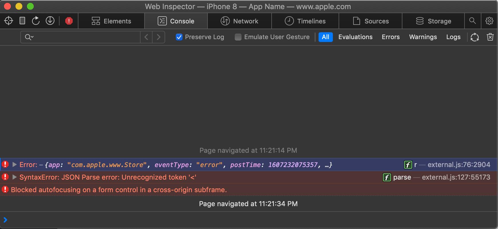 Safari Web Inspector showing a Javascript error captured in the console