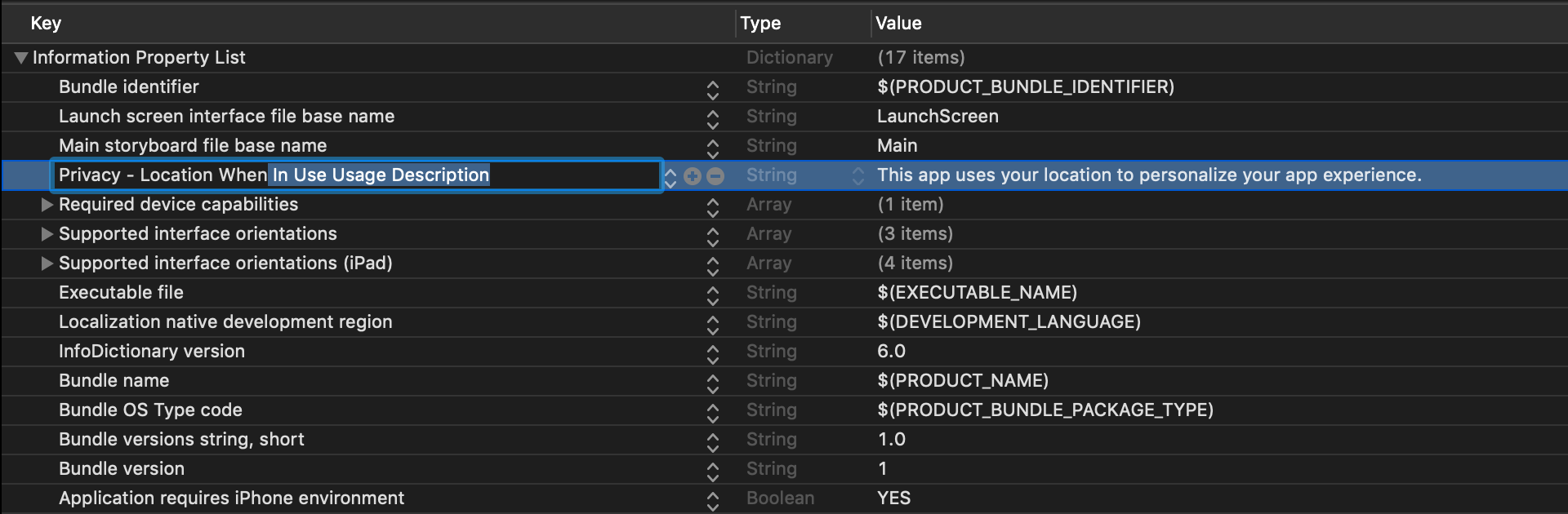 "Modify ""Location When In Use Usage Description"" in Xcode before requesting user location permissions"