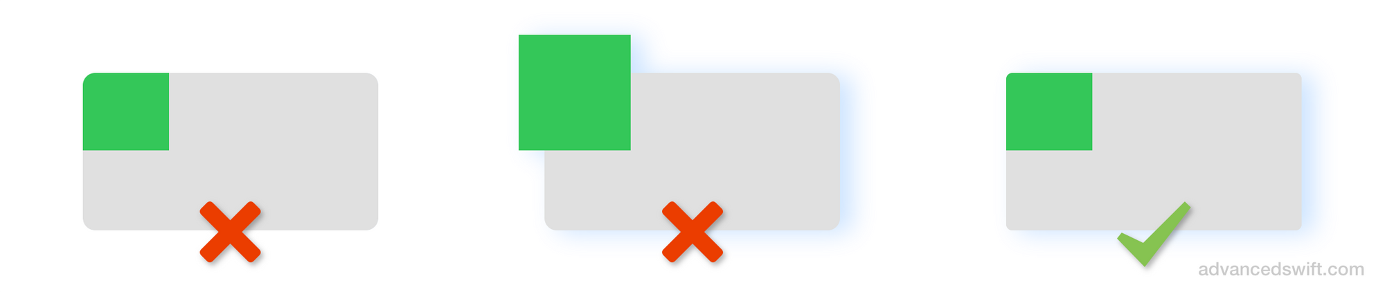 UIView Corner Radius and Shadow, Not Working And Working Examples