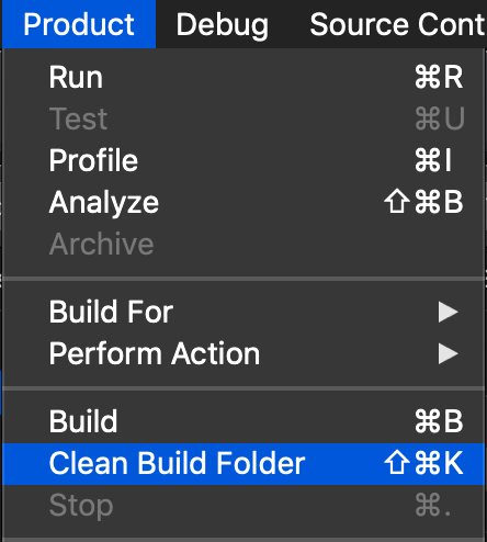 Clean Build Folder Menu Command In Xcode