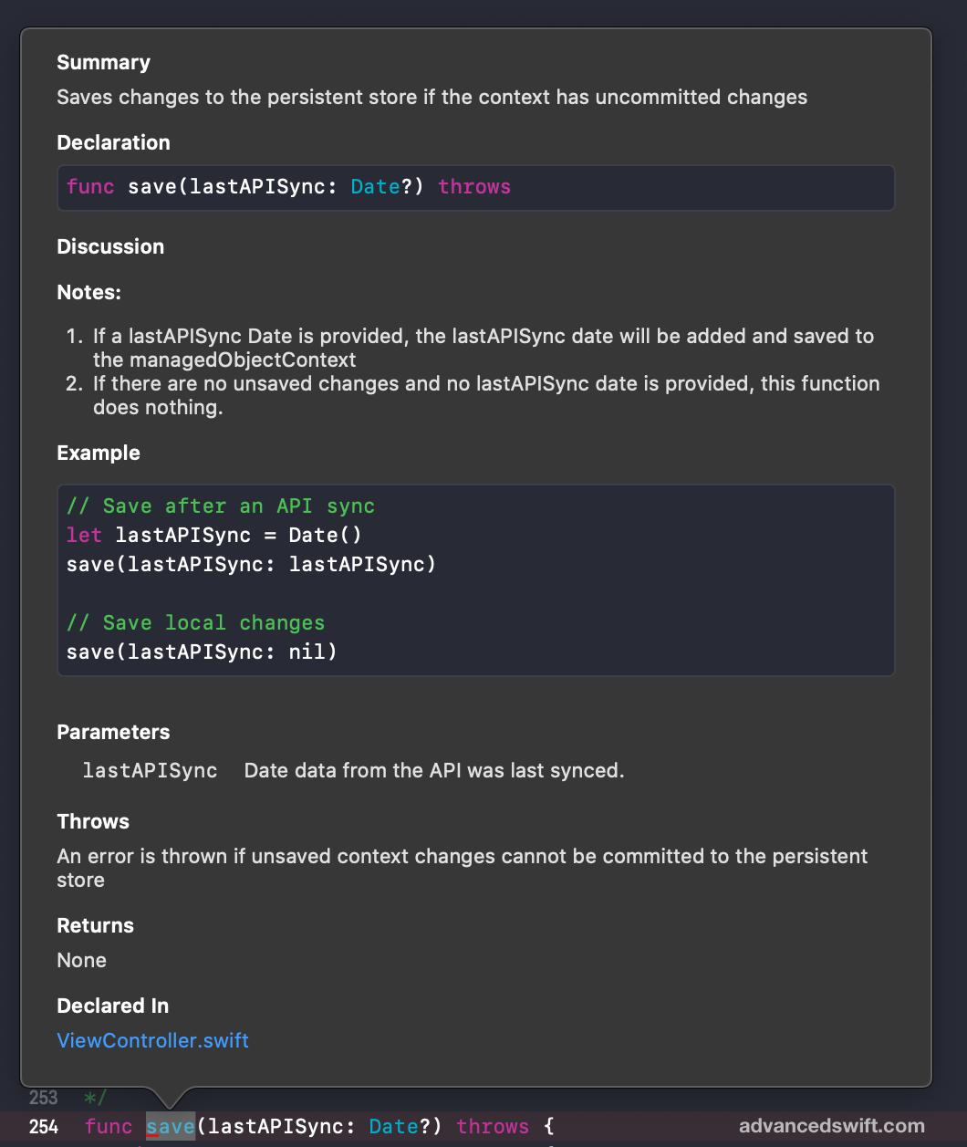 Custom Quick Help Documentation Popup