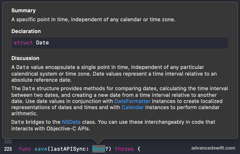 Date Quick Help Documentation Popup